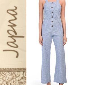 Japna Blue + White Cotton Striped Jumpsuit NWT